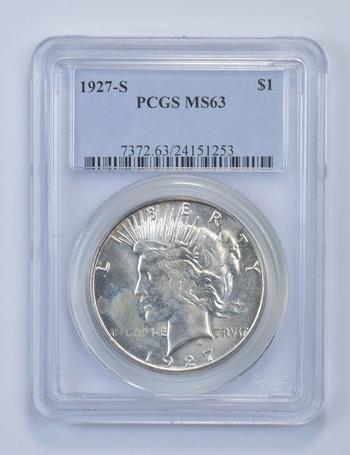 MS63 1927-S Peace Silver Dollar - Graded PCGS