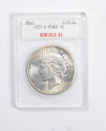 MS63 1927-S Peace Silver Dollar - Redfield - Graded Blanchard