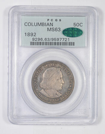 MS63 CAC 1892 Columbian Exposition Commemorative Half Dollar - Toned - Graded PCGS