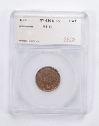 MS64 1863 M.S. Brown Civil War Token - N-4A - Graded by SEGS
