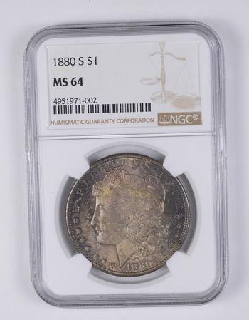 MS64 1880-S Morgan Silver Dollar - Graded NGC