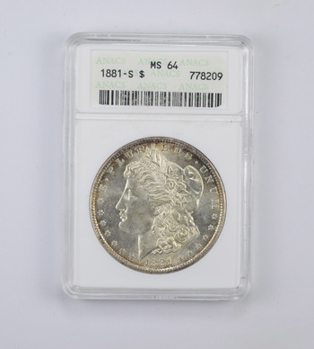 MS64 1881-S Morgan Silver Dollar - Toned Reverse - Graded ANACS