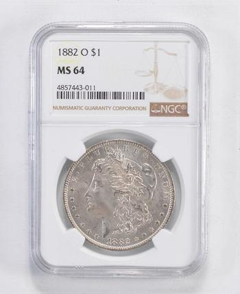 MS-64 1882-O Morgan Silver Dollar - Graded by NGC