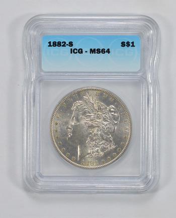 MS64 1882-S Morgan Silver Dollar - ICG Graded