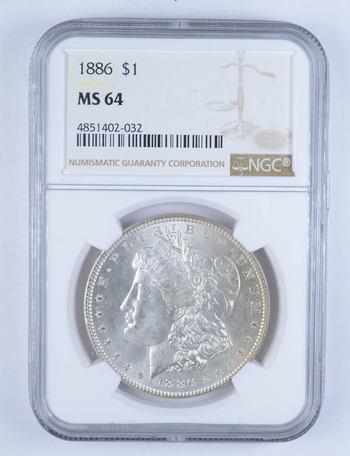 MS-64 1886 Morgan Silver Dollar - Graded by NGC