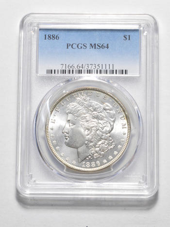 MS-64 1886 Morgan Silver Dollar - Graded by PCGS