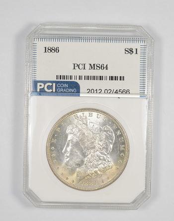 MS64 1886 Morgan Silver Dollar - Graded PCI