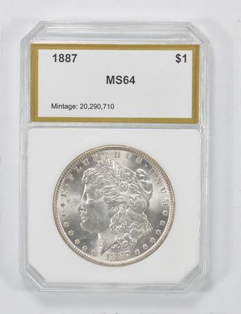MS64 1887 Morgan Silver Dollar - PCI Graded