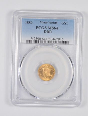MS64+ 1889 $1.00 Indian Princess Head Gold - Minor Variety - DDR - Graded PCGS