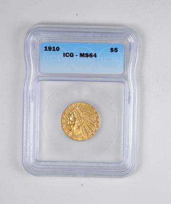 MS64 1910 $5.00 Indian Head Gold Half Eagle - JXXX - Graded ICG