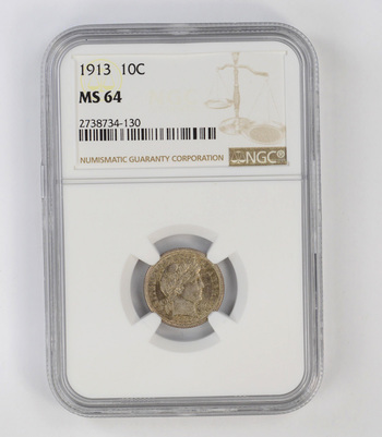 MS64 1913 Barber Dime - NGC Graded