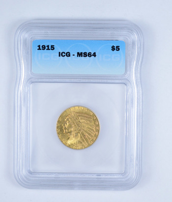MS64 1915 $5.00 Indian Head Gold Half Eagle - Graded by ICG