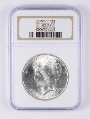 MS64 1923 Peace Silver Dollar - Graded NGC