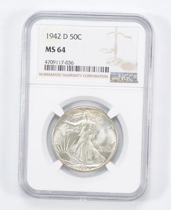 MS64 1942-D Walking Liberty Half Dollar - Graded NGC