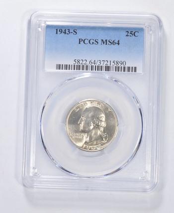 MS64 1943-S Washington Quarter - Graded PCGS