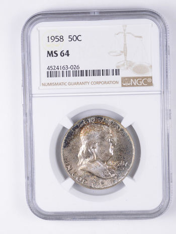 MS64 1958 Franklin Half Dollar - Graded NGC