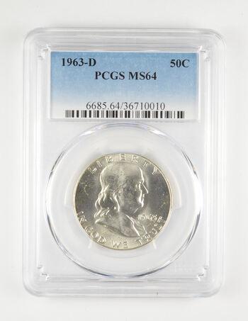 MS64 1963-D Franklin Half Dollar - Graded PCGS