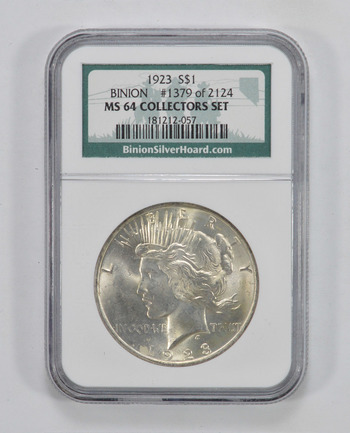 MS64 Collector's Set 1923 Peace Silver Dollar - Binion Silver Hoard #1379 of 2124 - ANA Graded