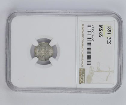 MS65 1851 Silver Three-Cent Piece - Trime - NGC Graded
