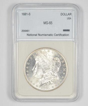 MS65 1881-S Morgan Silver Dollar - Graded NNC