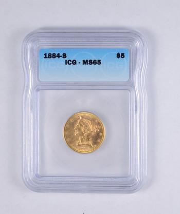 MS65 1884-S $5.00 Liberty Head Gold Half Eagle - ASXX - Graded ICG