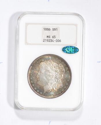 MS65 1886 Morgan Silver Dollar - CAC - Graded NGC