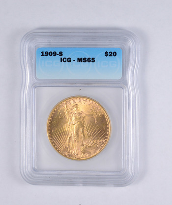 MS65 1909-S $20.00 Saint-Gaudens Gold Double Eagle - ASXX - Graded ICG