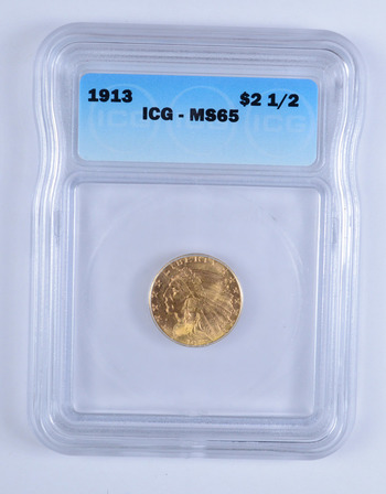 MS65 1913 $2.50 Indian Head Gold Quarter Eagle - ICG Graded