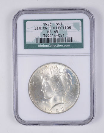 MS65 1923 Peace Silver Dollar - Binion Collection - Graded NGC