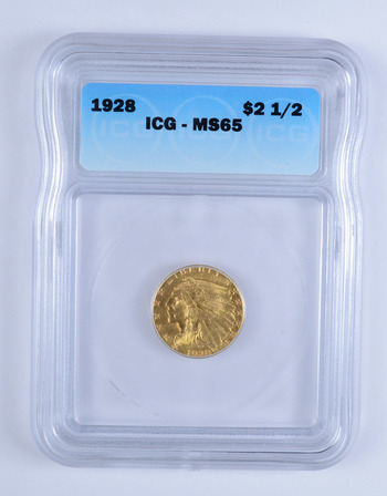 MS65 1928 $2.50 Indian Head Gold Eagle - ICG Graded