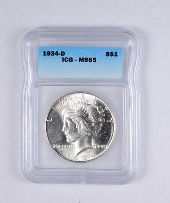 MS65 1934-D Peace Silver Dollar - BXX - Graded ICG