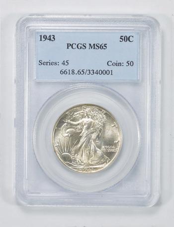 MS65 1943 Walking Liberty Half Dollar - PCGS Graded