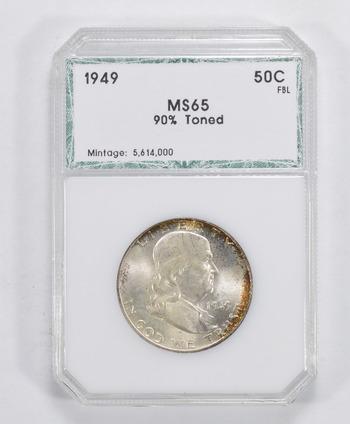 MS65 1949 Franklin Half Dollar - 90% Toned - PCI Graded
