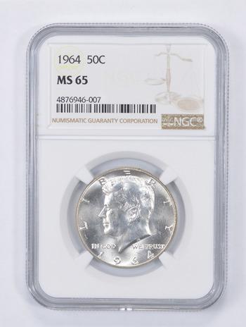 MS65 1964 (90% 1964 - or 40% (65-70) Kennedy Half Dollar Silver Graded NGC