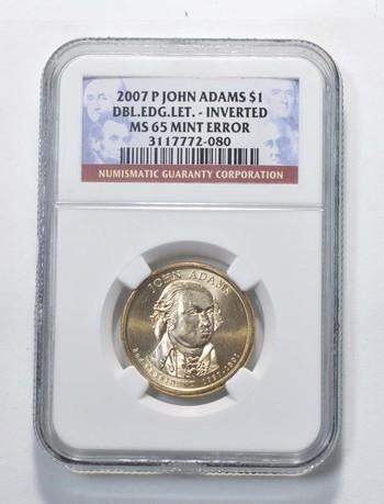 MS65 2007-P John Adams Presidential Dollar - DBL EDG LET Inverted - Mint Error - Graded NGC