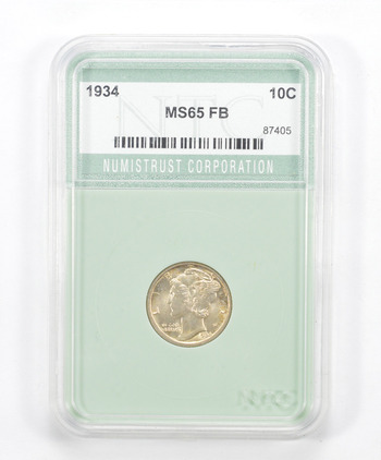 MS65 FB 1934 Mercury Dime - Graded NTC
