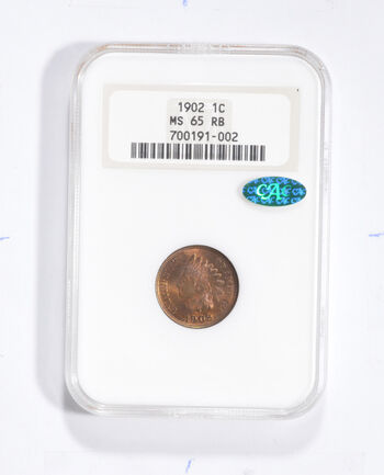 MS65 RB 1902 Indian Head Cent - CAC - Graded NGC