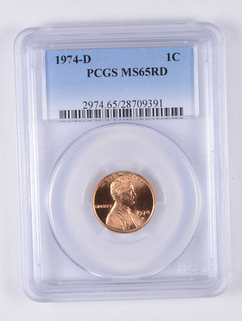 MS65 RD 1974-D Lincoln Memorial Cent - Graded PCGS