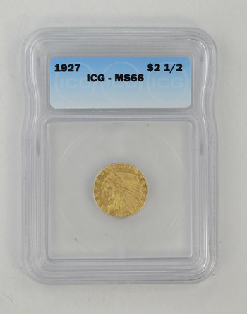 MS66 1927 $2.50 Indian Head Gold Quarter Eagle - ICG Graded