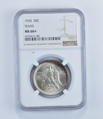 MS66+ 1935 Texas Independence Commemorative Half Dollar - Graded NGC