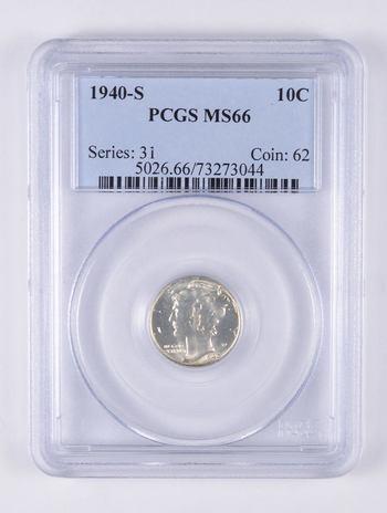 MS66 1940-S Mercury Dime - Graded PCGS