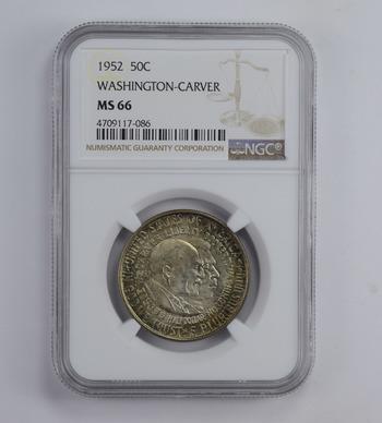 MS66 1952 Washington-Carver Commemorative Half Dollar - Toned - Graded NGC