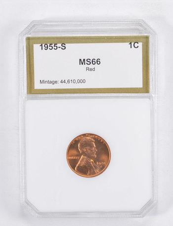 MS66 1955-S Lincoln Wheat Cent - Graded PCI