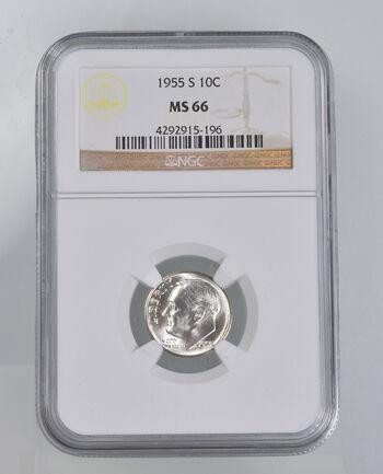 MS66 1955-S Roosevelt Silver Blast White Roosevelt Dime NGC Graded