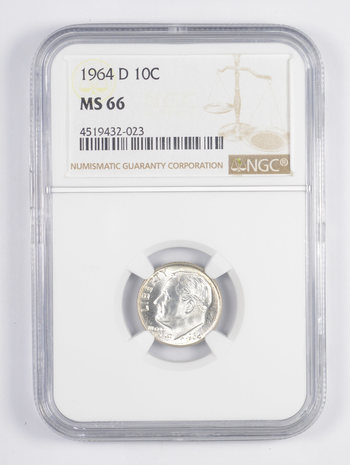 MS66 1964-D Roosevelt Dime - Graded NGC