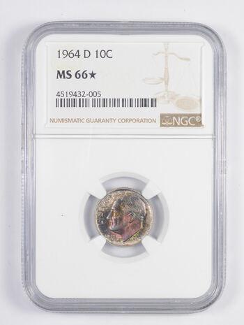 MS66* 1964-D Roosevelt Dime - STAR GRADE - MONSTER TONING - Graded NGC