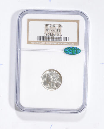 MS66 FB 1943-D Mercury Silver Dime - CAC - Graded NGC