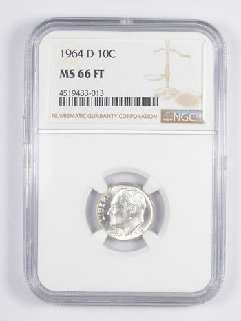 MS66 FT 1964-D Roosevelt Dime - TONED REVERSE - Graded NGC