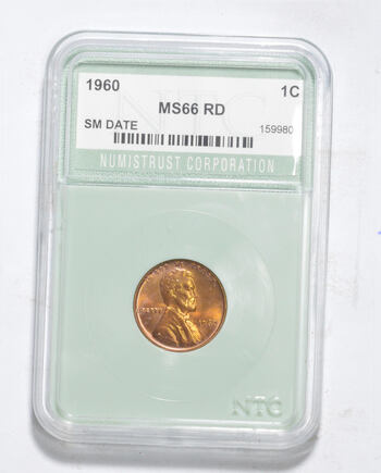 MS66 RD 1960 Lincoln Memorial Cent - Small Date - Graded NTC