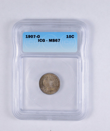 MS67 1907-O Barber Dime - Graded ICG